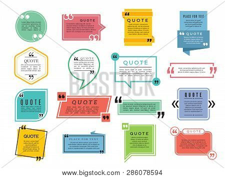 Quotes Shapes. Text Boxes Remark Sentences Quotes Vector Typography Frame Template. Illustration Of