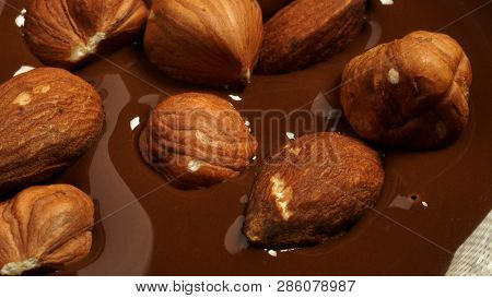 Hazelnuts And Almonds Fall Into The Melted Chocolate, 4k, Uhd, 3840x2160, Video, Clip