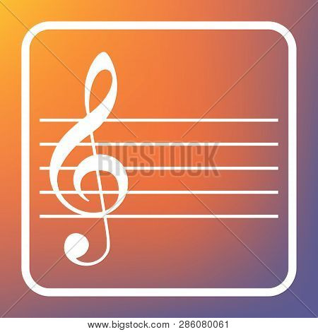 Music Violin Clef Sign. G-clef. Vector. White Icon On Transparent Button At Orange-violet Gradient B