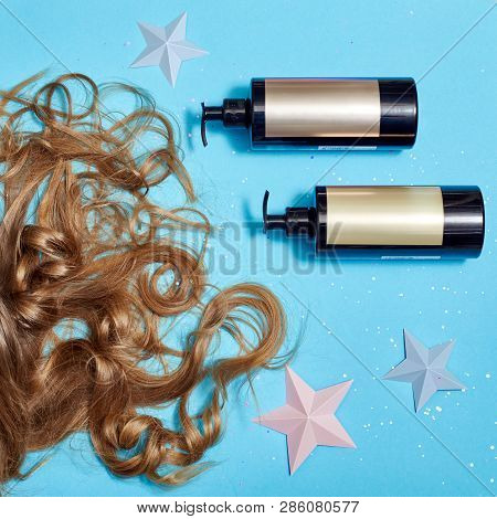 Hair Care, Long Beautiful Hair And Shampoo, Cosmetic For Care Of Strong Healthy Roots. Hair Lying On