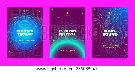 Electronic Sound Concept, Music Posters. Wave Dotted Distorted Lines, Neon Round. Abstract Futuristi