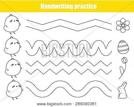 Handwriting Practice Sheet. Educational Children Game. Basic Writing Skills Early Education. Easter
