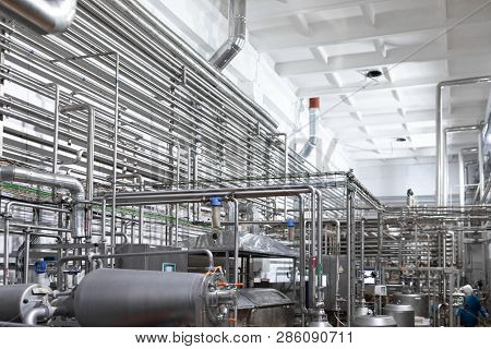 Steel Water Pipeline, Chrome Pipes , Pipe Lines And Other Equipment Tool In Plant Workshop