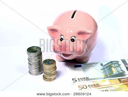 Piggi Bank With Bank Notes And Coinstacks