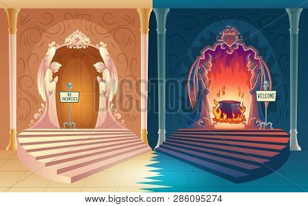 Punishment For Sinful Life Cartoon Vector Concept. Closed Heaven Gates With No Vacancies Sign, Welco