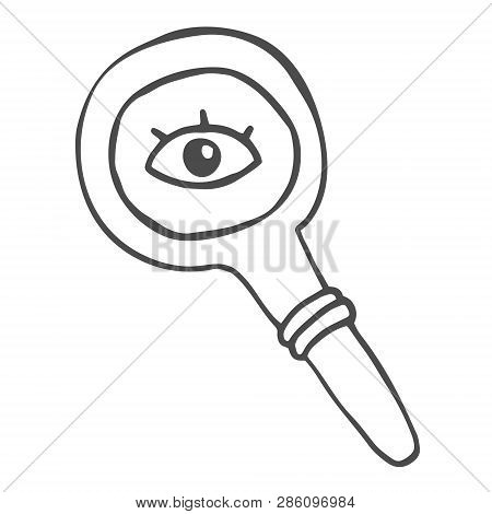 Quirky Drawing Of A Magnifying Glass With Eye