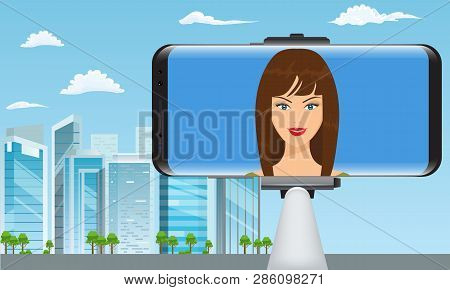 Monopod Selfie Stick With Girl Face Making Travel Video Blogger. City View On Background. Vector Ill