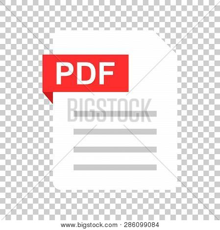 Pdf Document Note Icon In Flat Style. Paper Sheet Vector Illustration On Isolated Background. Pdf No