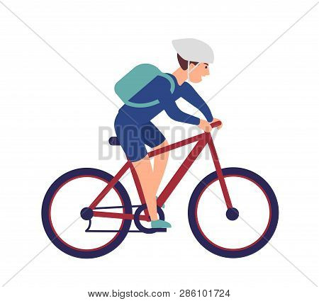 Cheerful Boy In Helmet Riding Bike. Smiling Sportsman On Bicycle Isolated On White Background. Happy