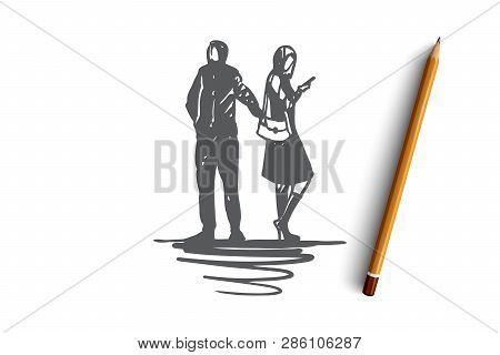 Pickpocketing, Crime, Theft, Steal, Wallet Concept. Hand Drawn Thief Stealing Wallet From Woman Conc