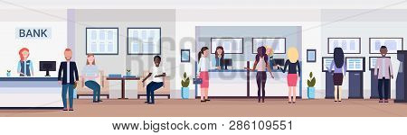 Banking Visitors And Workers Financial Consulting Center With Waiting Room Reception And Atm Modern