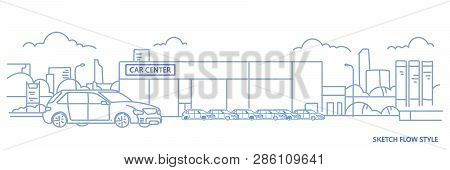 Cars Dealership Center Showroom Building Exterior With New Modern Vehicles Cityscape Background Sket