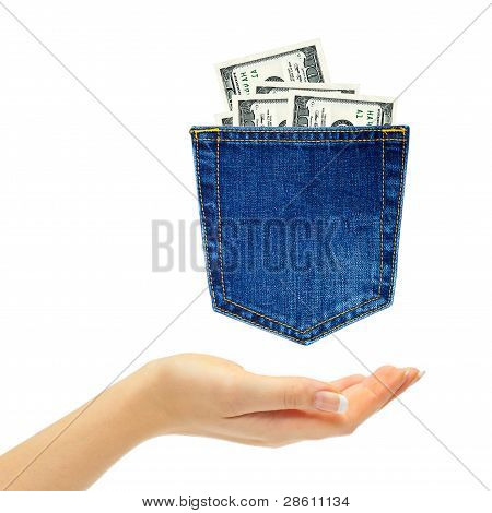 Hand And Dollars In Back Jeans Pocket