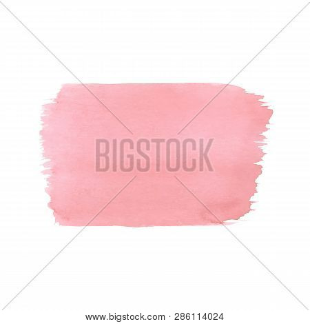 Hand Painted Pink Vector Watercolor Texture Isolated On The White Background. Template Usable For Ca