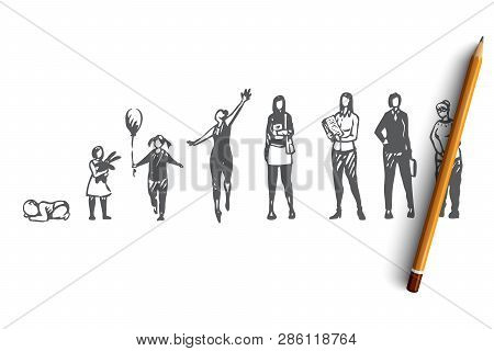 Aging, Female, Girl, Woman, Adult Concept. Hand Drawn Young And Adult Women Concept Sketch. Isolated