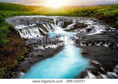 Bruarfoss Waterfall In Brekkuskogur, Iceland.