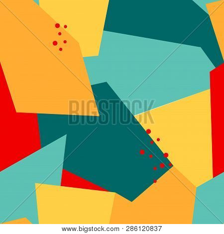 Seamless Abstract Pattern With Polygons And Dots. Yellow, Orange, Red, Blue Colors. Avan-garde Cute