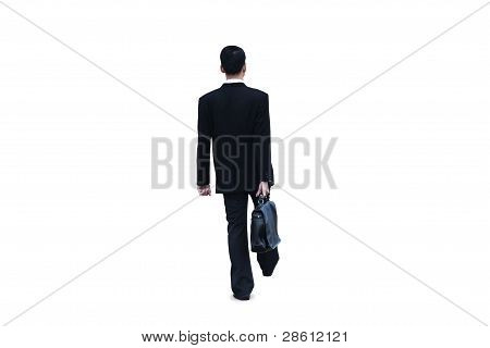 Businessman Walking On White