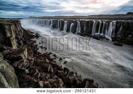 Amazing Scenery Of Selfoss Waterfall In Iceland. Beautiful Landscape And Cascade Of Selfoss Waterfal
