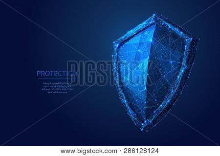 Shield. Abstract Wireframe Vector Illustration On Dark Blue. Protect And Security Of Safe Concept. L