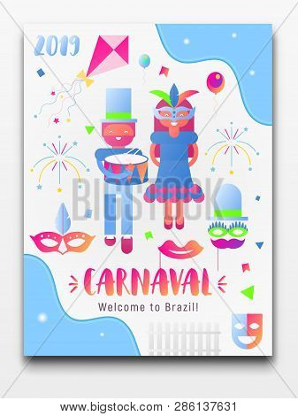 Brazil Carnival Poster, Banner. Invitation Card For Popular Event - Brasil Carnaval - Text And Objec