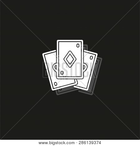 Playing Card Illustration - Casino Symbol - Playing Cards Sign, Gamble Icon. White Flat Pictogram On