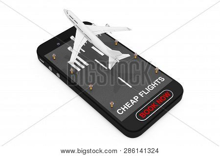 White Jet Passenger's Airplane Takeoff From Mobile Phone With Runway, Cheap Flights Sign And Book No