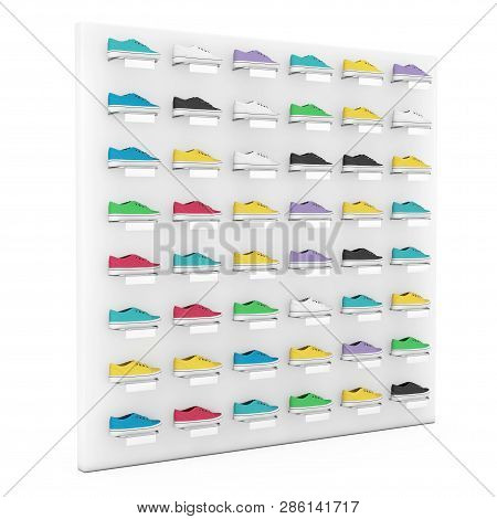 Many Multicolour Sneakers Footwear Exhibition On Shelf For Sale In Fashion Shop A White Background.