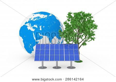 Ecological Energy Concept. Blue Solar Cell Pattern Panel, Earth Globe And Green Tree On A White Back