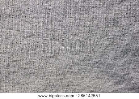 Gray Fabric Texture Background Of Light Material Design. Grey Cloth Pattern Of Hoodie, Sweater, Pull