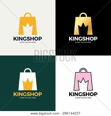 Shopping Bag And Crown In Negative Space. Vector Crown King Shop Logo Design. Business Concept Icon