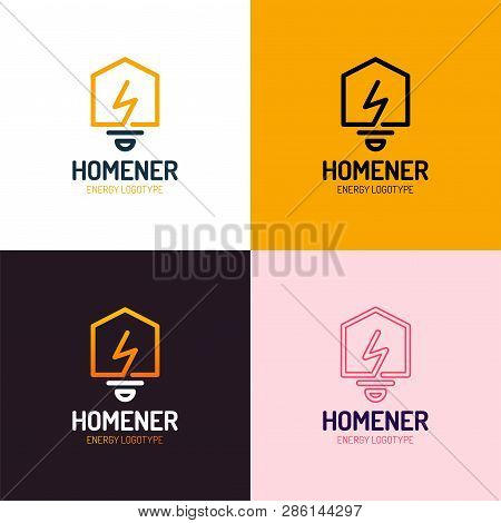 Lighting Bulb Shaped Smart Home Sign Icon, Smart House Logo Vector Set On White Background