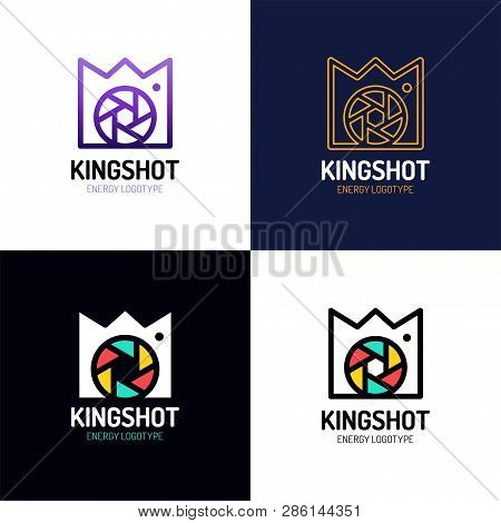 Camera Shutter Photography With Royal Crown Logo Icon Vector Inspiration