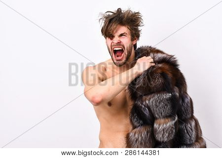 Luxury Status Symbol. Richness And Luxury Concept. Bachelor Rich Lover. Guy Attractive Posing Fur Co