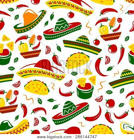 Mexican Cuisine Seamless Pattern. Vector Background Of Sombrero, Chili Or Jalapeno Pepper And Mexica