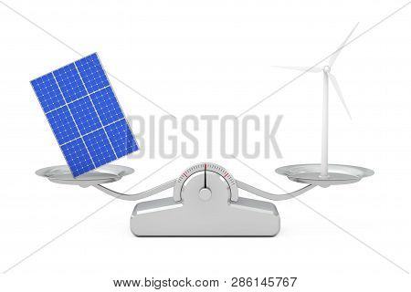 Blue Solar Cell Pattern Panel With Wind Turbine Windmill Balancing On A Simple Weighting Scale On A