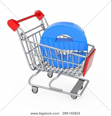 E-commerce Concept. Shopping Cart Trolley With Blue Letter E As Electronic Commerce On A White Backg