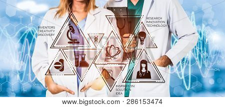 Medical Healthcare Research And Development Concept. Doctor In Hospital Lab With Science Health Rese