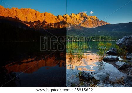 Famous Eibsee lake at the foot of Mt. Zugspitze. Location Garmisch-Partenkirchen, Bavarian alp, Europe. Images before and after. Original or retouch, example of photo editing process. Beauty of earth.