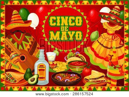 Cinco De Mayo Mexican Holiday Greetings Poster With Food And Decorations. Vector Mexico Fiesta Cinco