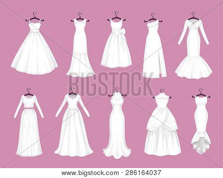 Wedding Dress Vector Isolated Icons Set. Vector Save The Date Greeting, Engagement And Marriage Part