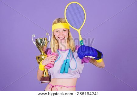 Sport Champion. Fitness Champion. Champion Concept. Girl Successful Modern Woman Hold Golden Goblet