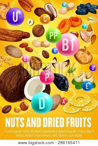 Healthy Nuts And Dried Fruits, Vitamins And Vitamins. Organic Vegetarian Nutrition Food Of Figs, Coc