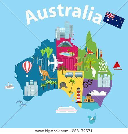 Map Of Australia, Tourist Map Of Australia. Cartoon Map Of Australia With Animals And Landmarks.