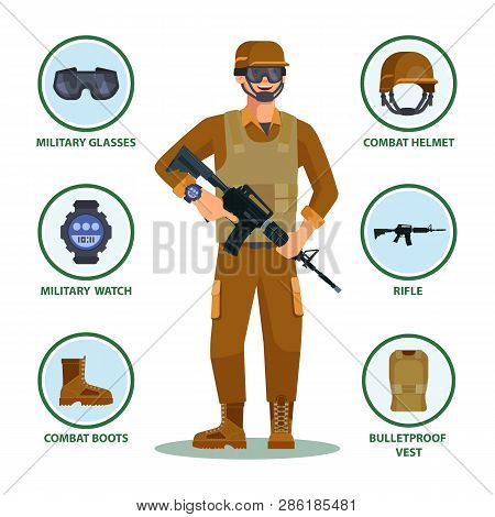 Army Or Military Cartoon Soldier With Items In Infographic. Man With Helmet And Eyewear, Watch And G