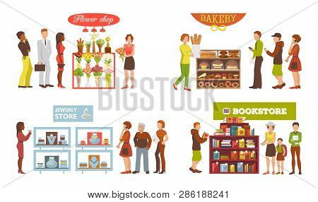 Shop Window Vector Showwindow Of Book Store Flower-shop And Window-case Of Bakery Illustration Set O