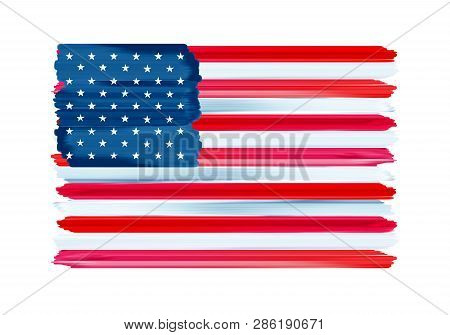 Usa American Colorful Brush Strokes Painted National Country Flag Icon. Painted Texture.
