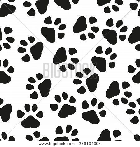 Animal Paw Print Seamless Pattern Background. Business Flat Vector Illustration. Dog Or Cat Pawprint