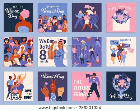 International Women S Day Set. Vector Templates For Card, Poster, Flyer And Other Users.