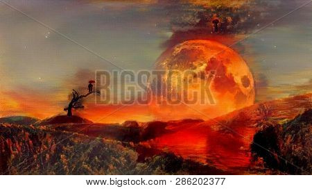 Vivid abstract painting. Red moon at the horizon. 3D rendering